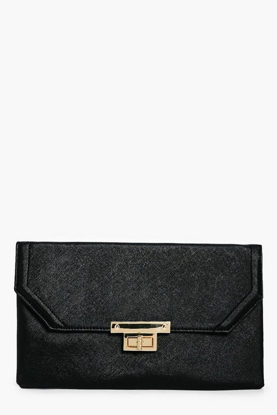 Jessica Metal Lock Detail Clutch Bag