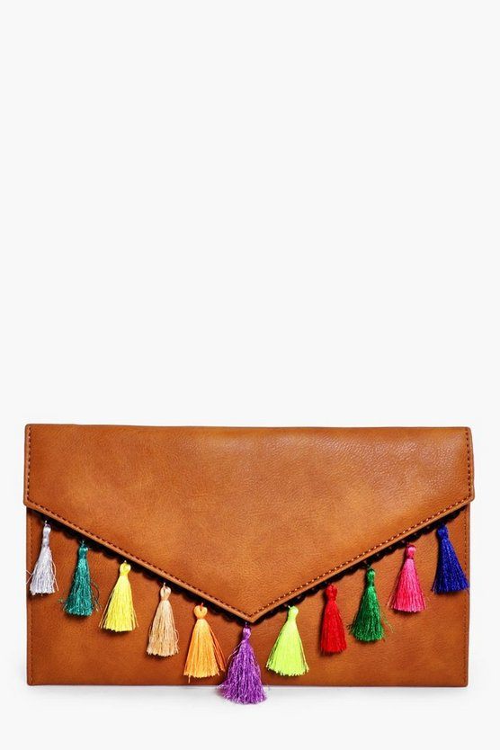 Ruby Tassel Trim Envelope Clutch Bag
