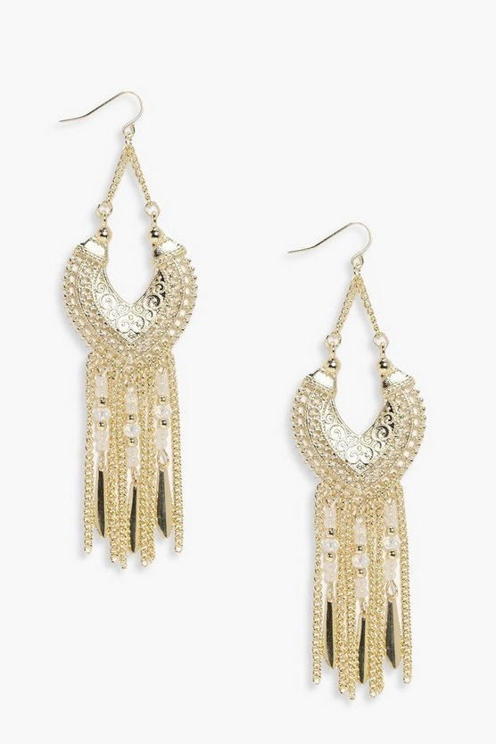 Lacey Embellished Tassel Earrings