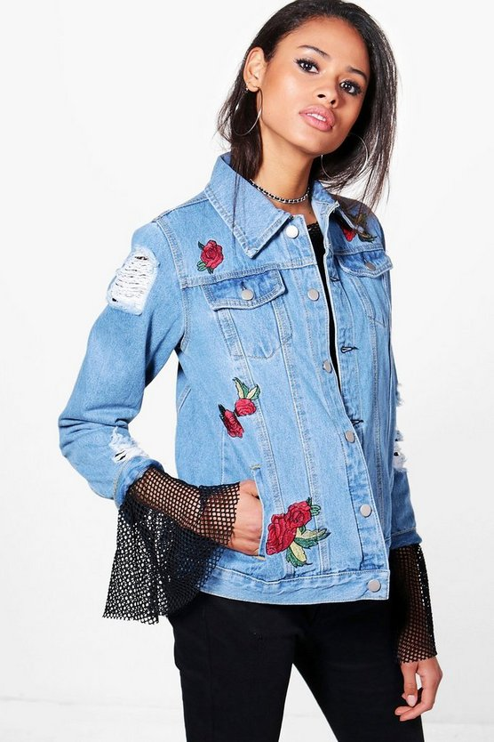 Jodie Embroidered Distressed Denim Jacket