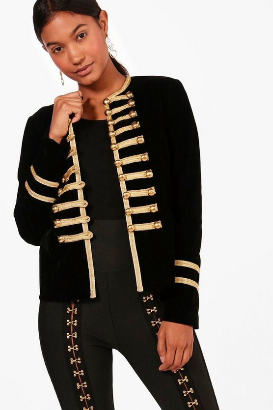 Daisy Boutique Jacke Military-Style in Samt-Optik
