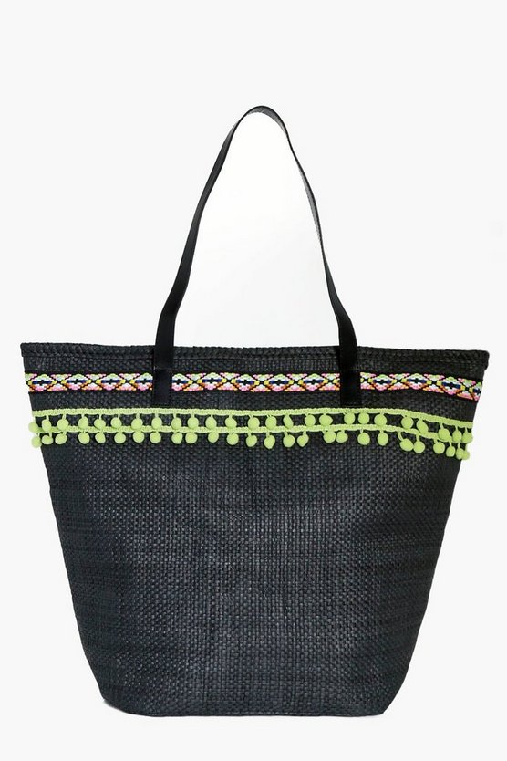 Isla Straw Pom Pom Beach Bag