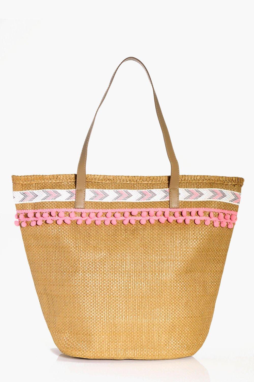 Straw Pom Pom Beach Bag - natural - Isla Straw Pom