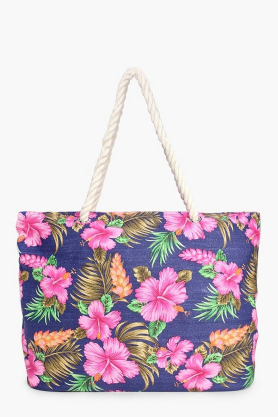 Layla Tropical Flower Beach Bag
