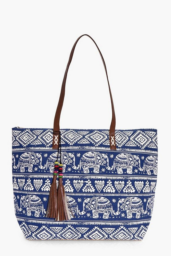 Eva Elephant & Tassel Beach Bag