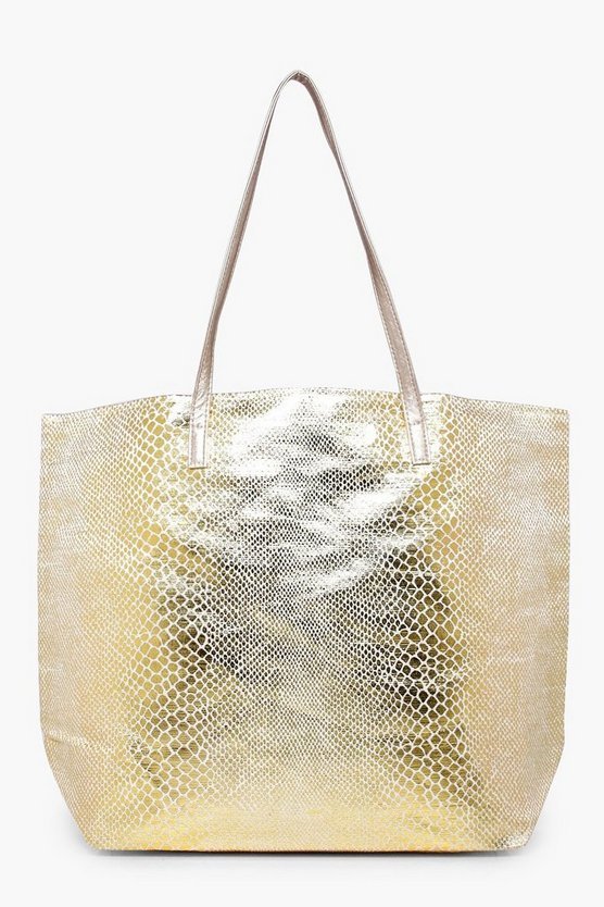 Caroline Metallic Snake Print Beach Bag