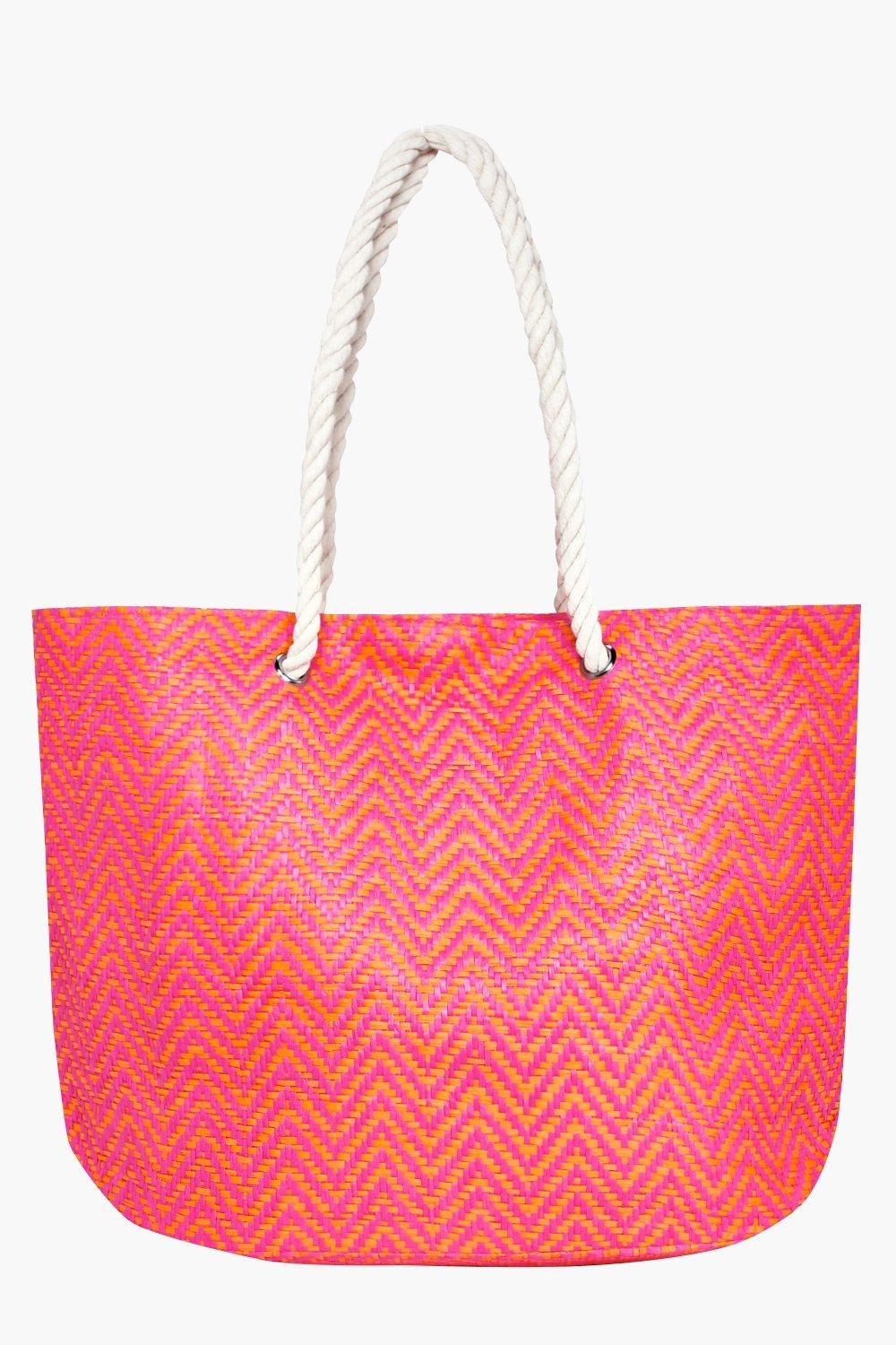 Straw Weave Beach Bag - pink - Esme Straw Weave Be
