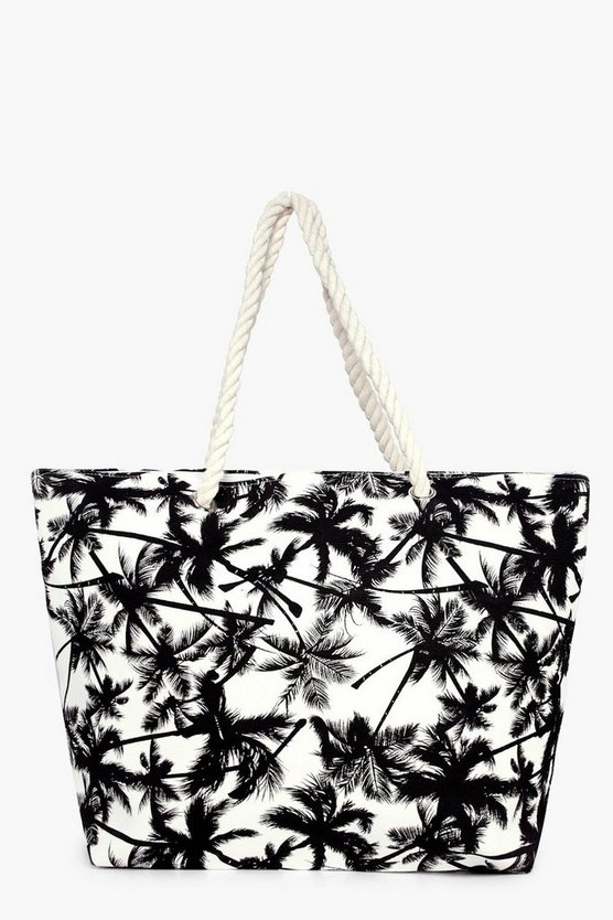 Faith Palm Print Beach Bag