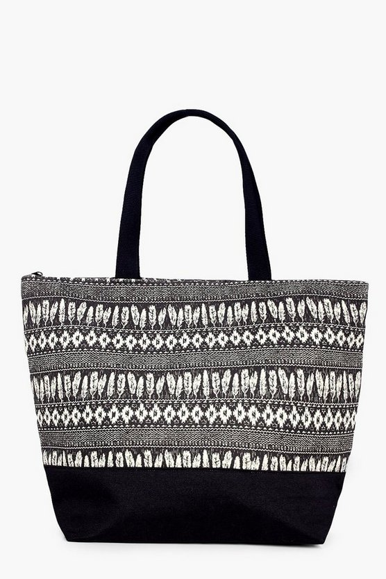 Sophia Feather Print Beach Bag