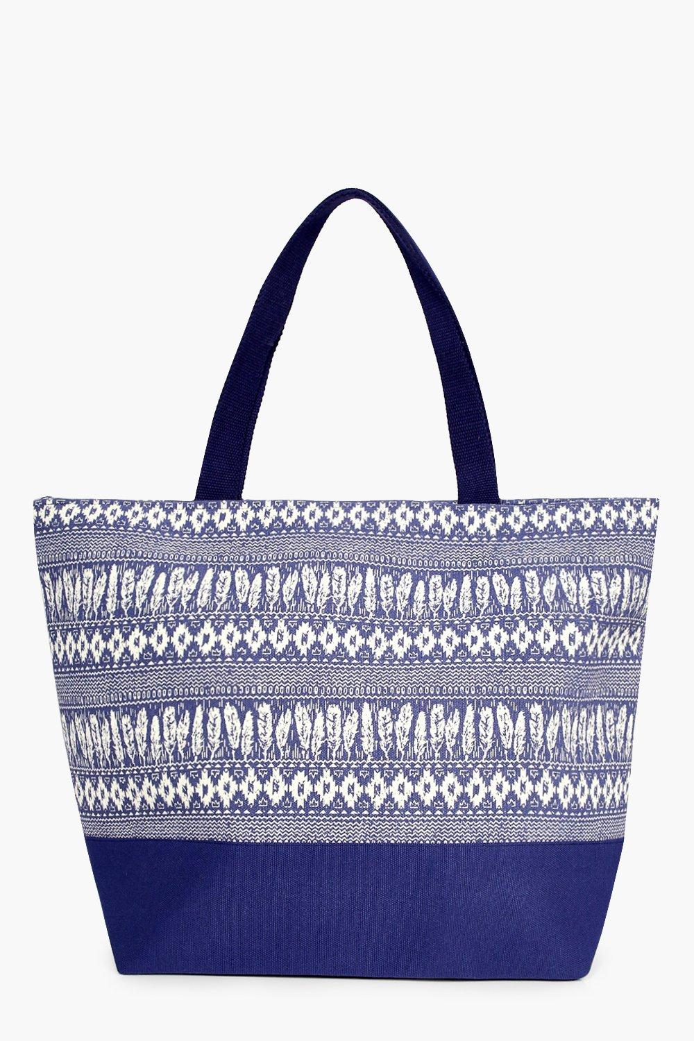 Feather Print Beach Bag - blue - Sophia Feather Pr