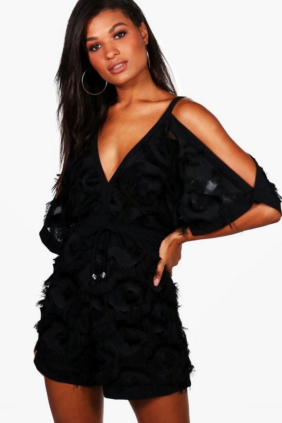 Boutique Texture Open Shoulder Playsuit