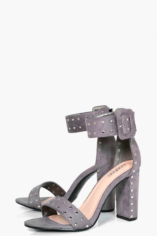 boohoo damen millie sandalen mit nieten und blockabsatz ebay. Black Bedroom Furniture Sets. Home Design Ideas