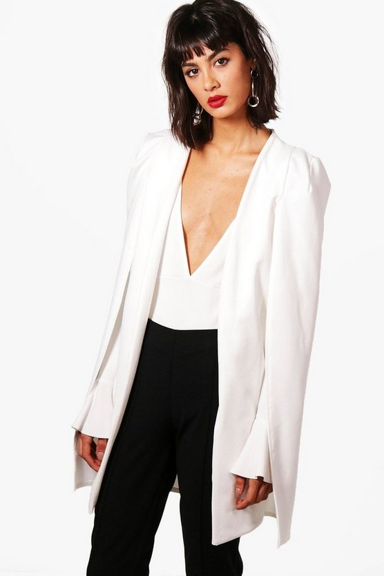 Phoebe Split Back Longline Tailored Crepe Cape