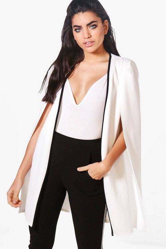 Rebecca Contrast Longline Tailored Crepe Cape