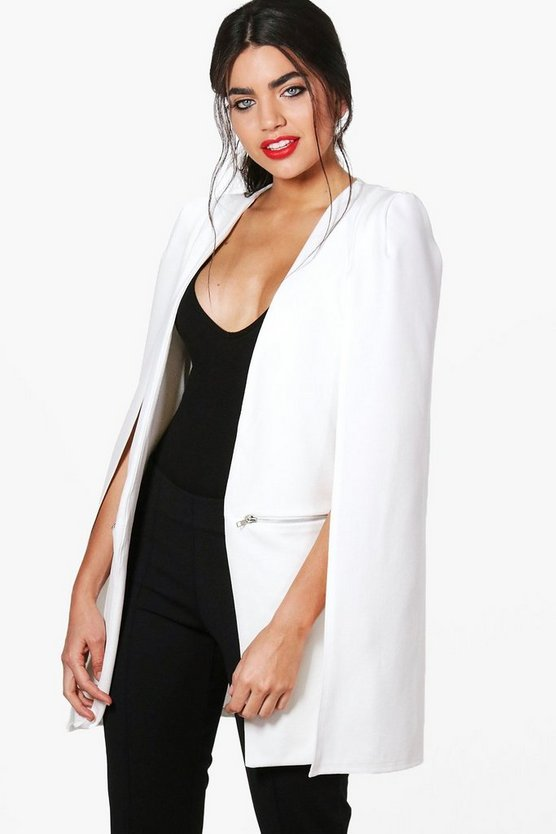 Charlotte Zip Detail Longline Tailored Crepe Cape