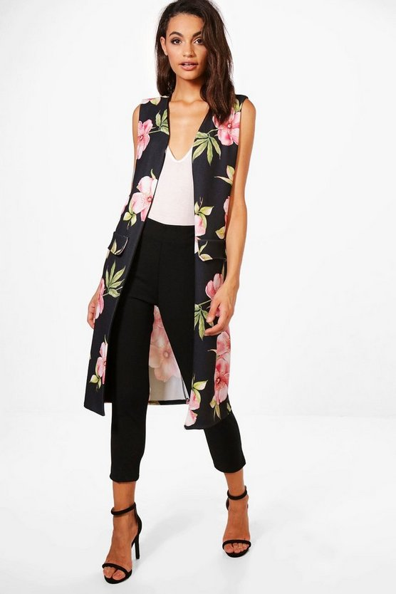 Amelia Floral Print Sleeveless Duster