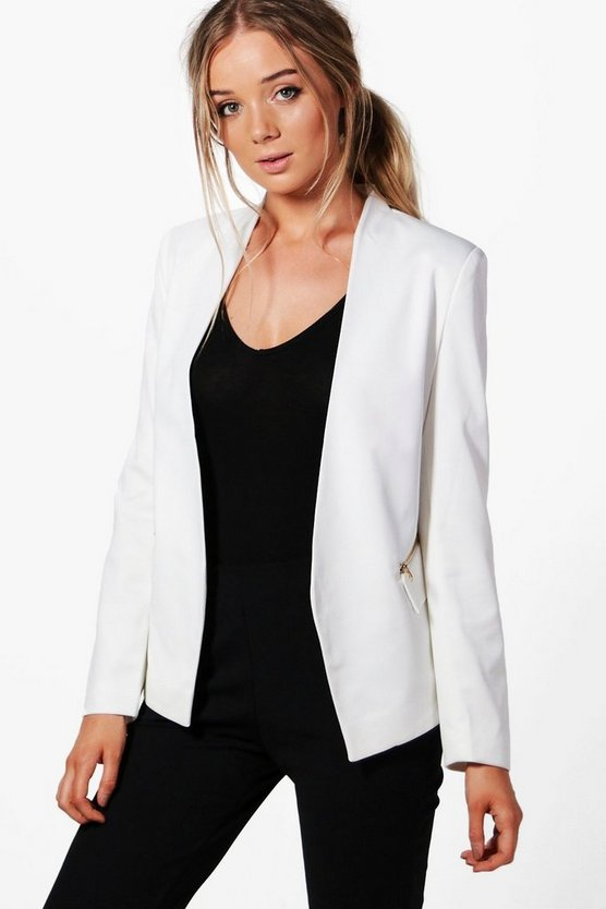 Maddison Lined Zip Detail Tailored Blazer