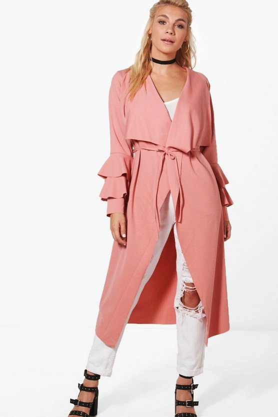 Katie Ruffle Sleeve Belted Duster