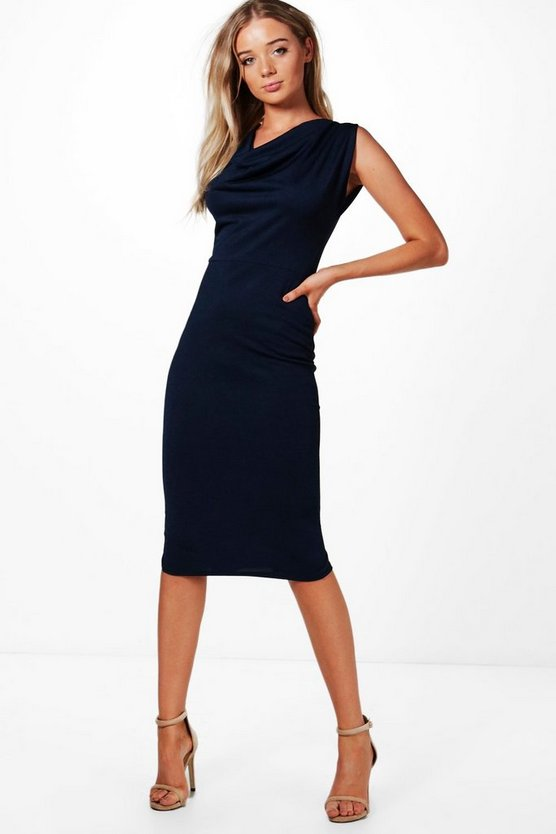 Charlotte Cowl Neck Midi Dress