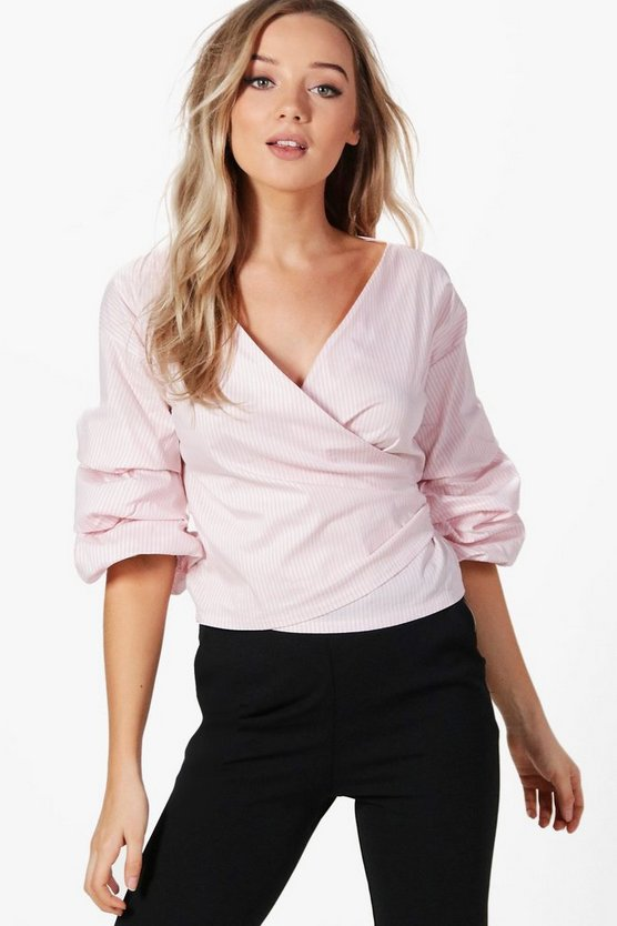 Ruffle Sleeve Stripe Wrap Shirt