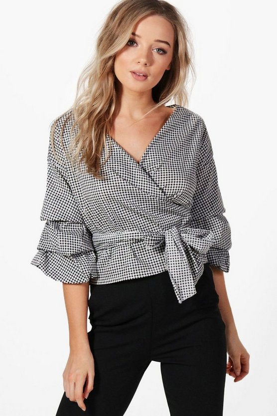Eva Ruffle Sleeve Wrap Gingham Shirt