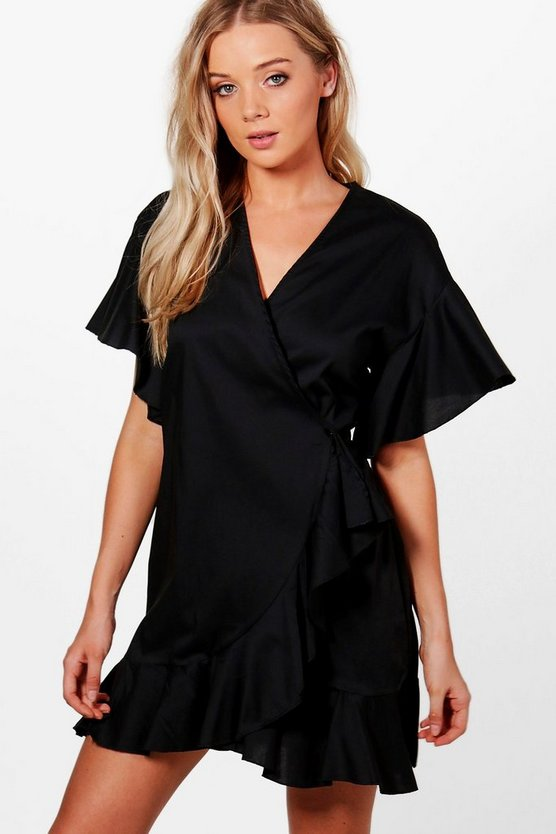 Harriet Ruffle Shirt Wrap Dress