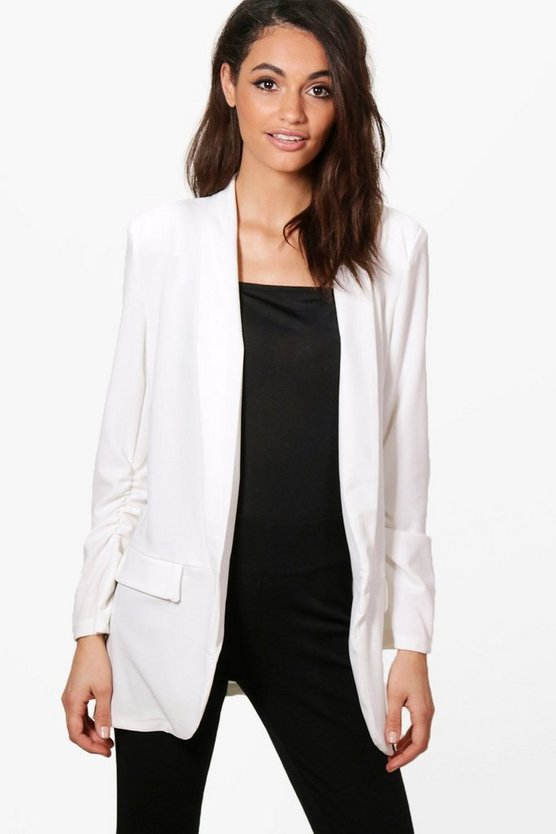 Georgia Gathered Sleeve Tailored Woven Blazer