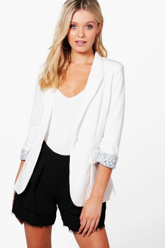 Maria Floral Turn Up Cuff Tailored Blazer