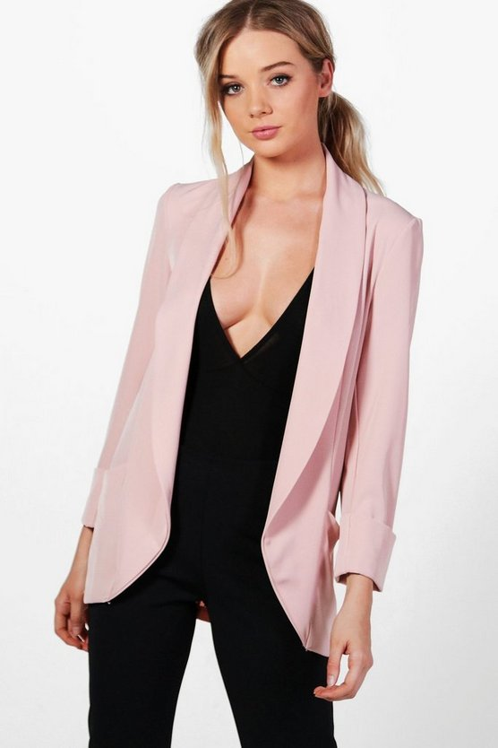 Katie Shawl Collar Pocket Textured Blazer