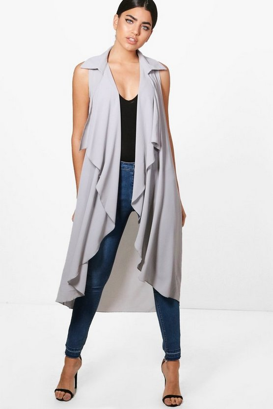 Erin Waterfall Chiffon Sleeveless Longline Duster
