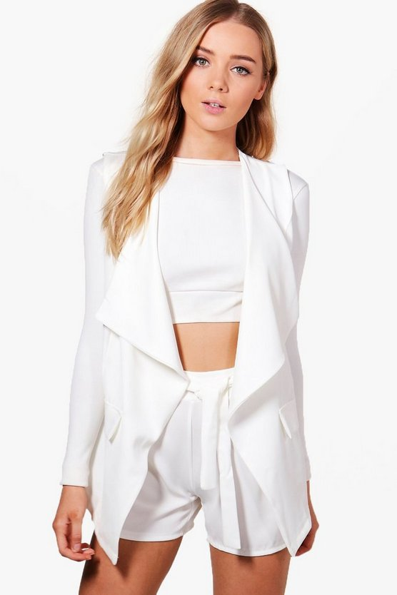Maddison Sleeveless Woven Waterfall Blazer