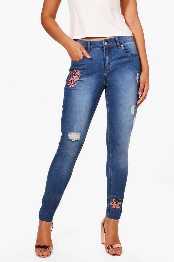 Bloom Embroidered Skinny Jeans