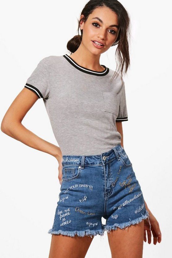 Lola Embroidered Slogan Denim Shorts