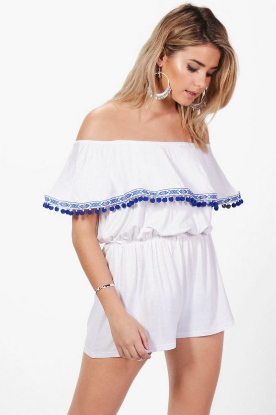 Abi Pom Pom Trim Ruffle Playsuit