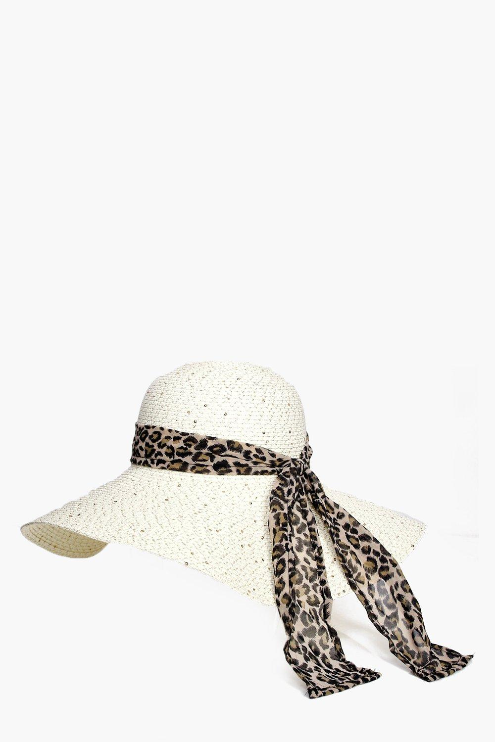 Sequin & Leopard Straw Floppy Hat - natural - Lace