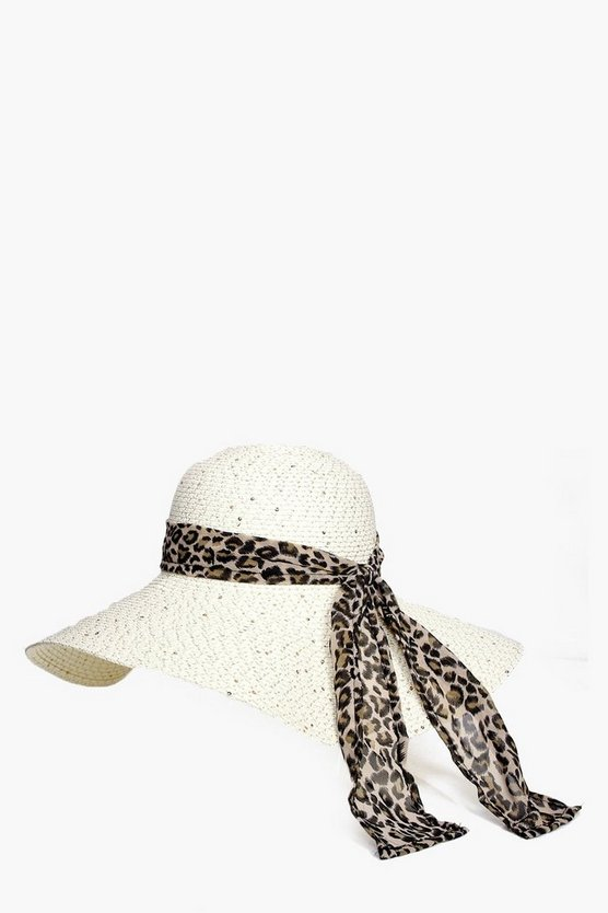 Lacey Sequin & Leopard Straw Floppy Hat