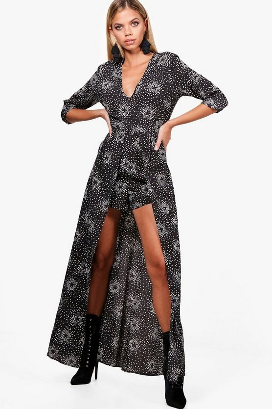 Star Print Maxi Overlay Playsuit