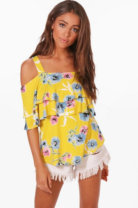 Laura Floral Ruffle Cold Shoulder Top