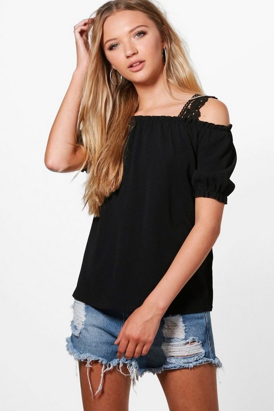 Hollie Crochet Lace Cold Shoulder Top