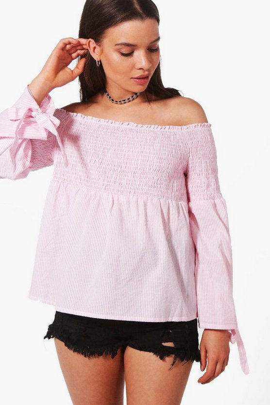 Molly Woven Stripe Off The Shoulder Top