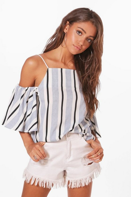 Ellie Woven Cold Shoulder Stripe Top