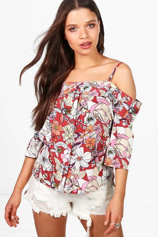 Ellie Woven Floral Cold Shoulder Top