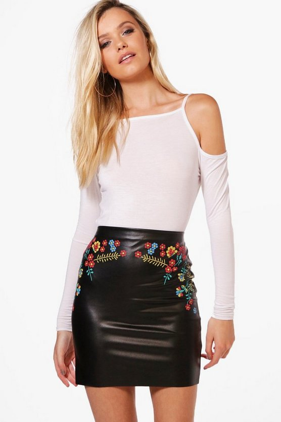 Aria Embroidered Detail Leather Look Mini Skirt