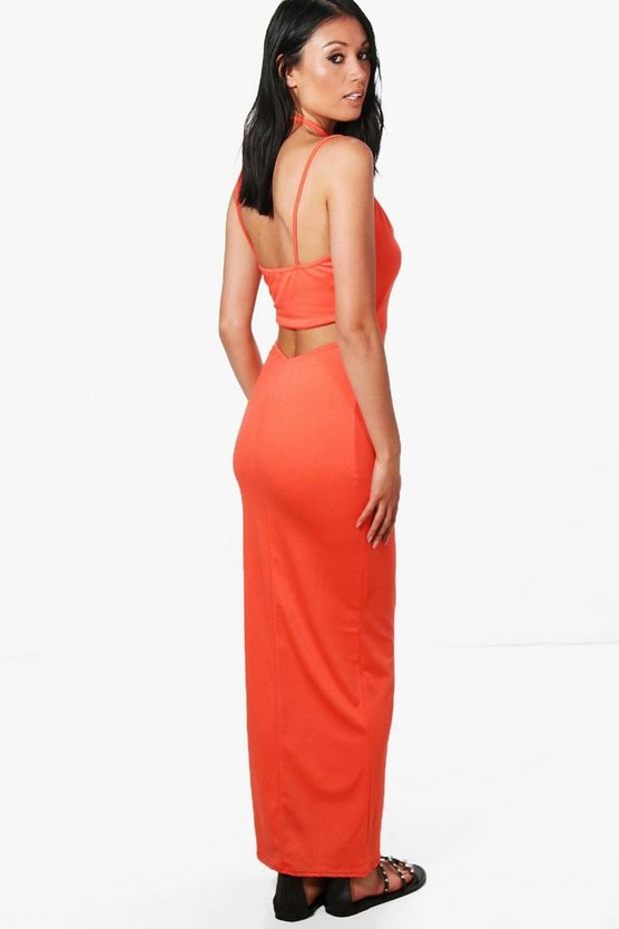 Cath Choker Strap Open Back Maxi Dress