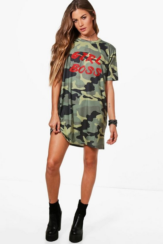 Katie Girl Boss Camo T-Shirt Dress