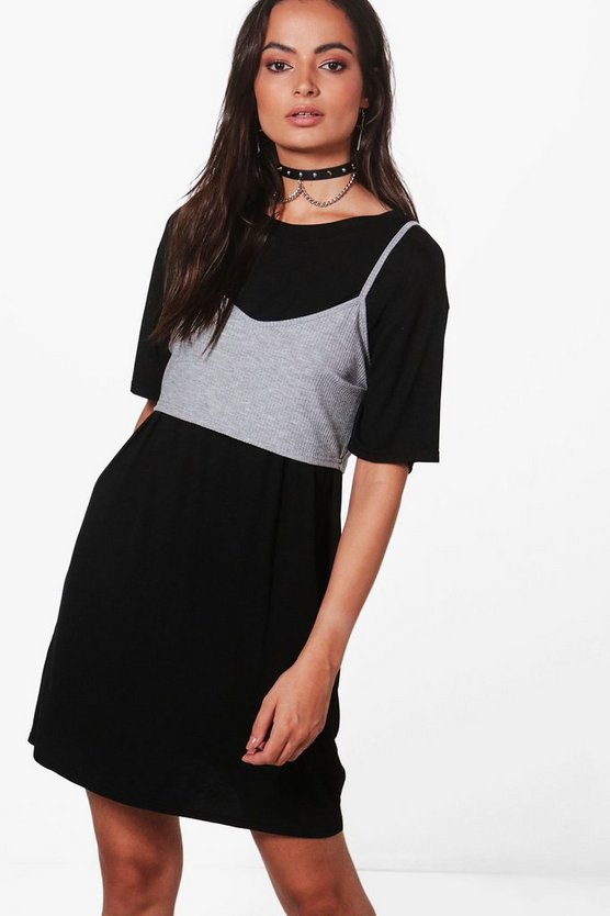Effy T-Shirt Dress With Ribbed Bralet