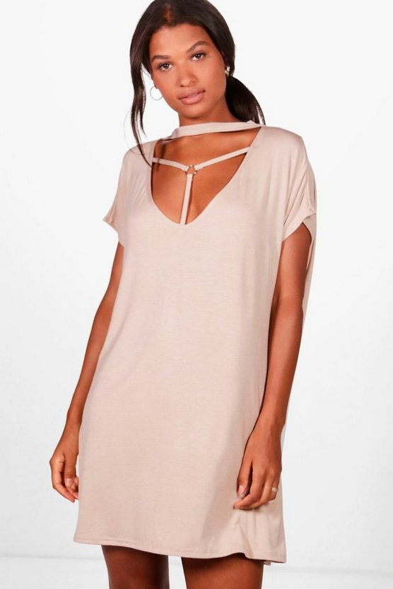 Cage Detail Choker Shift Dress