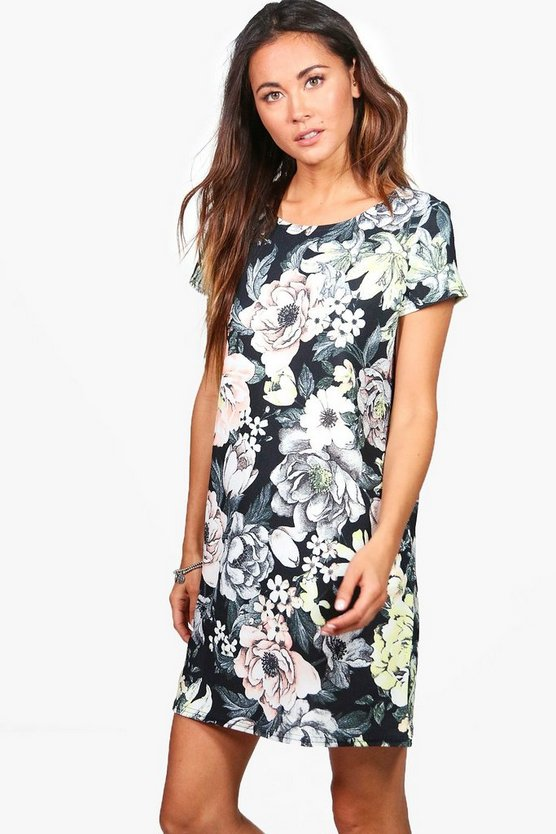 Rosie Floral Cap Sleeve Shift Dress