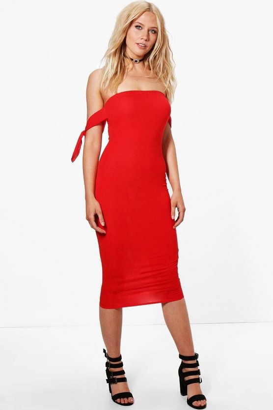 Lara Tie Sleeve Bardot Midi Dress
