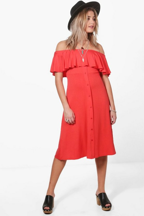 Maria Off Shoulder Button Frill Midi Dress
